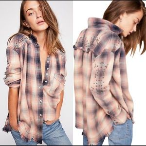 FREE PEOPLE Take On Me Studded Plaid Top sz Small